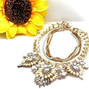 DIAMANTE CRYSTAL FLORAL STATEMENT NECKLACE